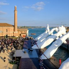 Inauguration Of Lorenzo Quinn's Building Bridges Sculpture During Venice Biennale 2019
